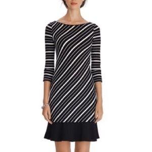 WHBM 3/4 Sleeve Diagonal Stripe Chemise Dress